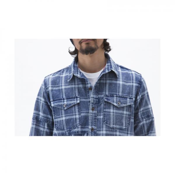 インディゴチェック長袖シャツ