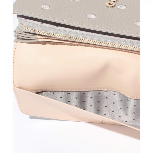 ペルケ perche / 牛革ドット刺繍かぶせ長財布