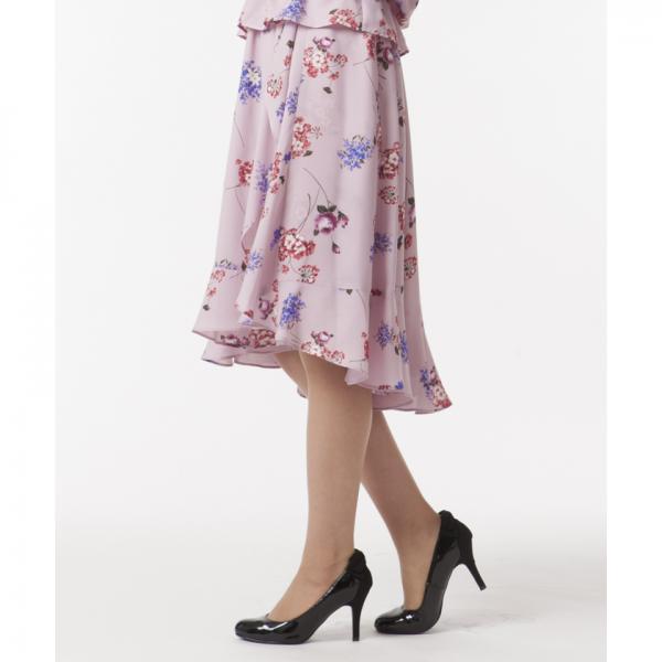 【セットアップ対応商品】フラワープリントイレギュラーヘムフレアースカート