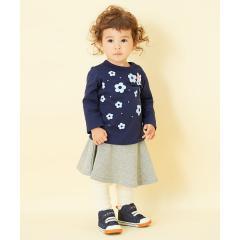 キャビットちゃんとお花モチーフ♪可愛い長袖Tシャツ(80~90cm)