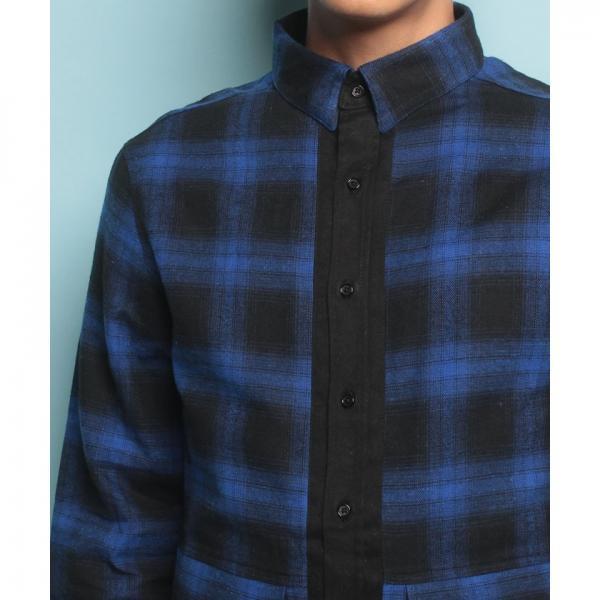 【SHELLAC HOMME】ポケット付ロング丈 ネルチェックシャツ
