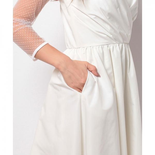 【kaene】ドットチュールインナー付き カシュクール風ロングウェディングドレス
