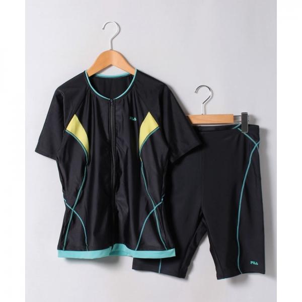【FILA】無地ベーシックフルジップ袖付セパレーツ水着 大きいサイズ