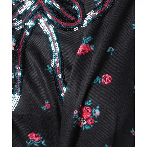 【XS】レーヨン ツイルドレス ウィズ シークインカラー スキャタードスプリグ