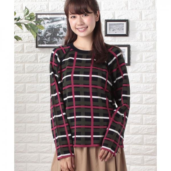 チェックジャガードセーター(長袖)