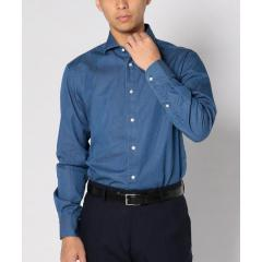 SD: 【ウォッシュド】 インディゴ ソリッド シャンブレー ホリゾンタルカラー シャツ【お取り寄せ商品】