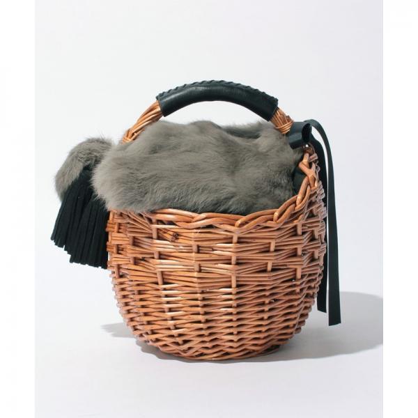 カカトゥ kakatoo / ラビットファーフラップマルシェかごバッグ