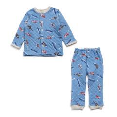 Boy's飛行機柄前開き長袖パジャマ