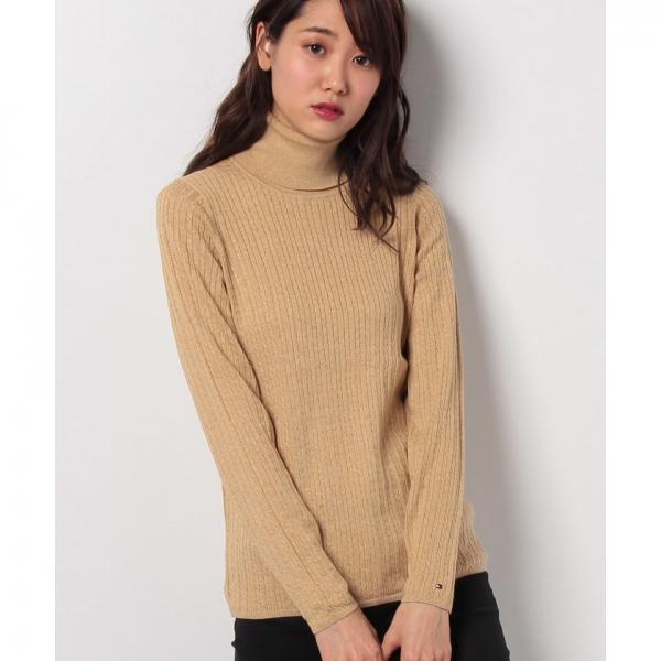 ミニケーブルロールネックセーター