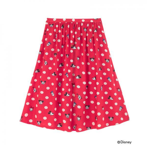 【XS】ディズニー フラットビスコーススカート ミッキー&フレンズボタンスポット