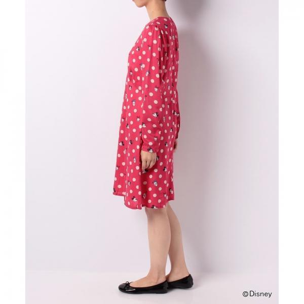 【12】ディズニー フラットビスコースドレス ミッキー&フレンズボタンスポット