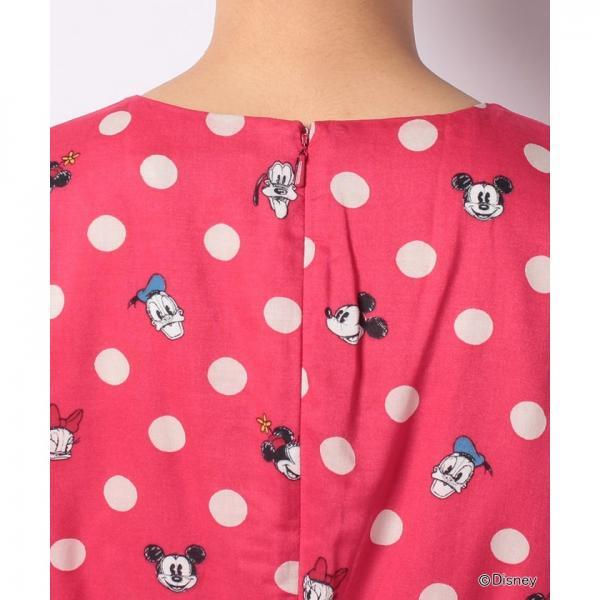 【8】ディズニー フラットビスコースドレス ミッキー&フレンズボタンスポット