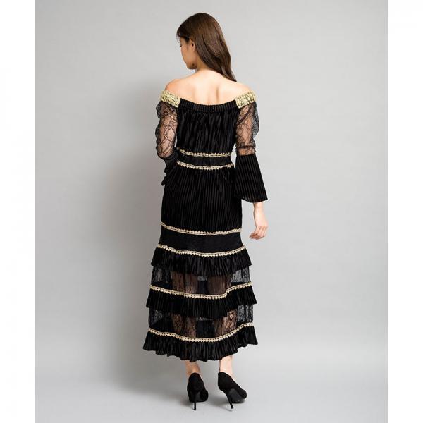 ベロアロングワンピース[DRESS/ドレス]