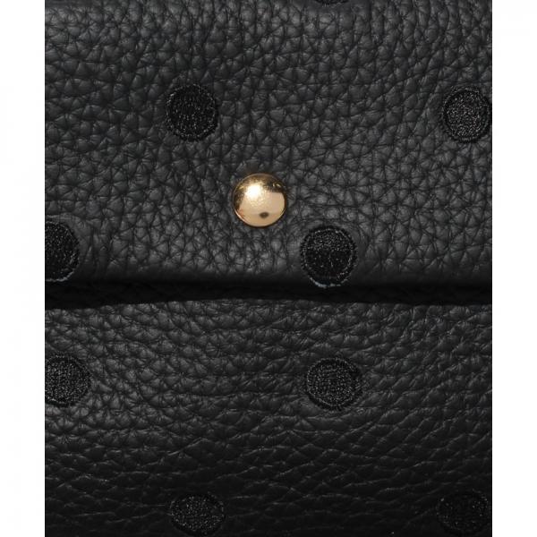ペルケ perche / 牛革ドット刺繍袋縫いかぶせ財布