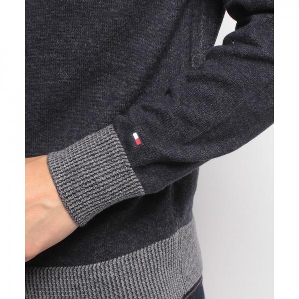 バイカラークルーネックセーター