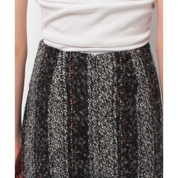 【C+/シー】カラーストライプツイードタイトスカート