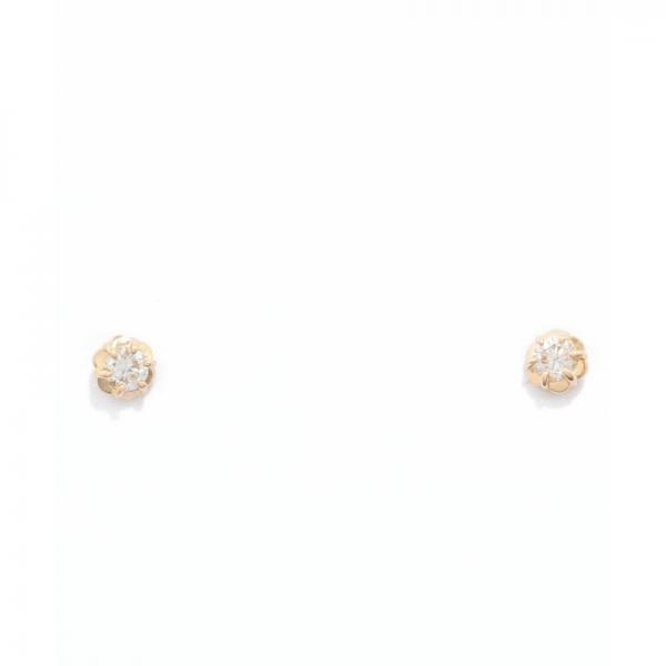 [セカンドピアス]K18フィオレットセッティングダイヤモンドピアス0.1ct