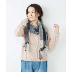 モールヤーン編み柄ニット