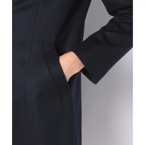 刺繍入りVカラーウールコート