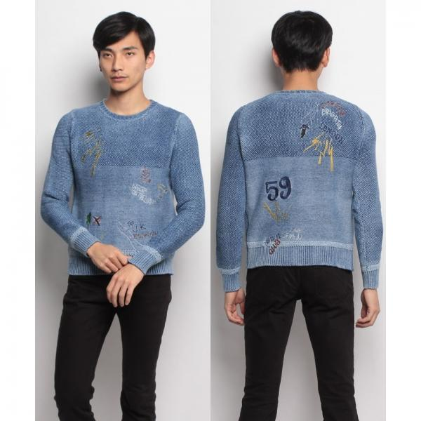 SEVESKIG EMBROIDERY INDIGO SWEATER
