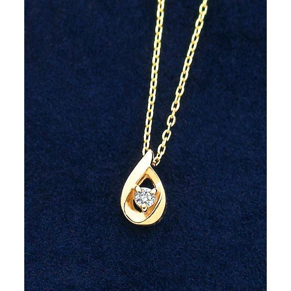 ダイヤモンドしずくプチネックレス(YG)