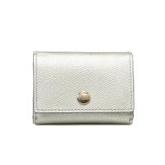 角シボ型押しメタリックレザー・三つ折りミニ財布