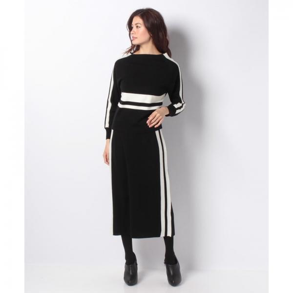 【セットアップ対応商品】配色ダブルラインニットスカート