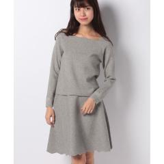 フラワー刺繍ニットプルオーバー×スカートセット