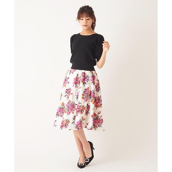マルチカラー花柄スカート