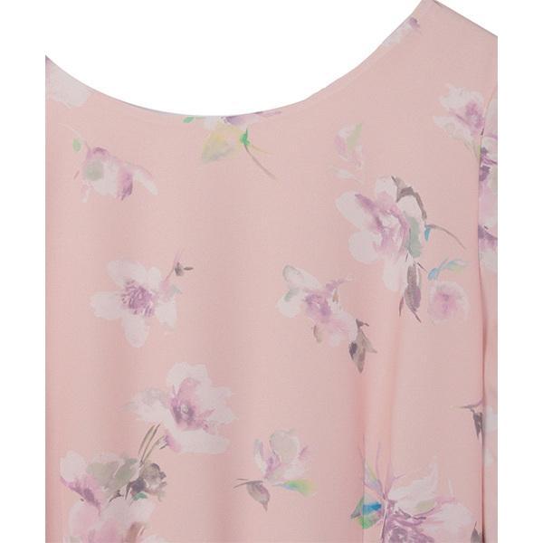 花柄プリント袖ギャザー入りワンピース
