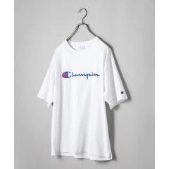 SHIPS JET BLUE×Champion: 別注 ヘビーウエイト リラックス 刺繍ロゴTシャツ【お取り寄せ商品】