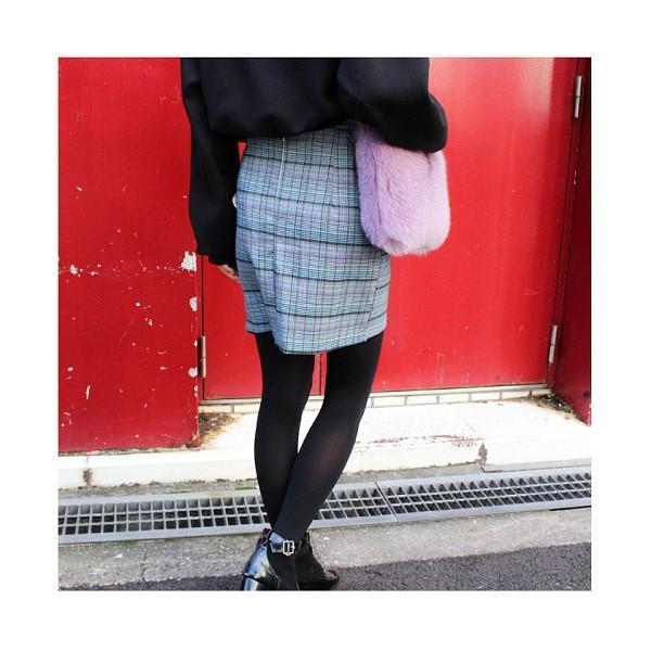 グレンチェックリボンラップミニスカート
