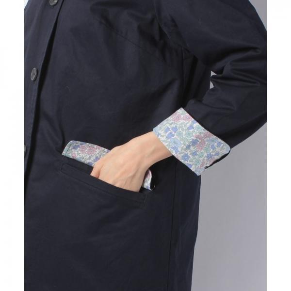リバティプリント/ライナー付きステンカラーコート