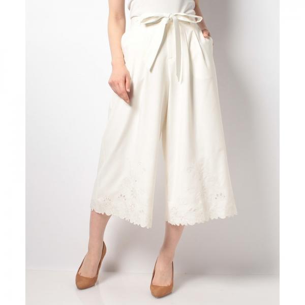 裾刺繍ワイドパンツ