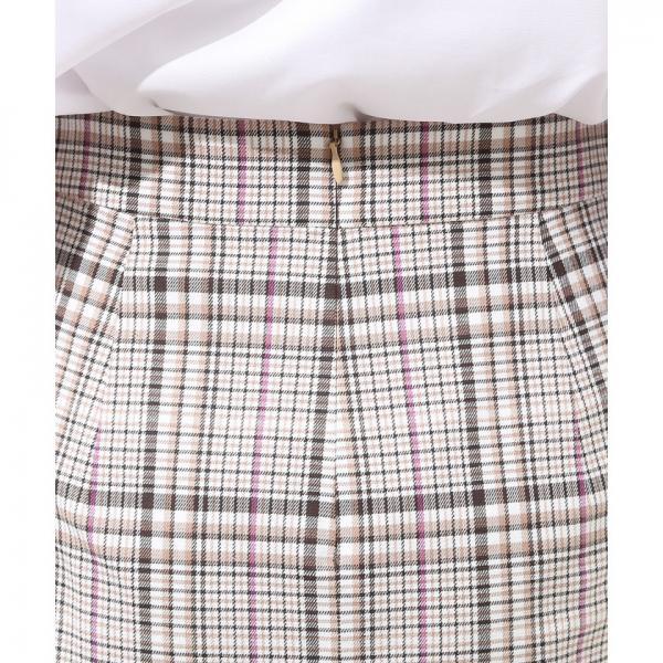 チェックハイウエストタイトスカート