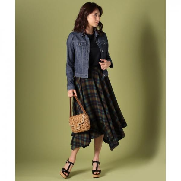 【eclat6月号掲載商品】チェックロングスカート