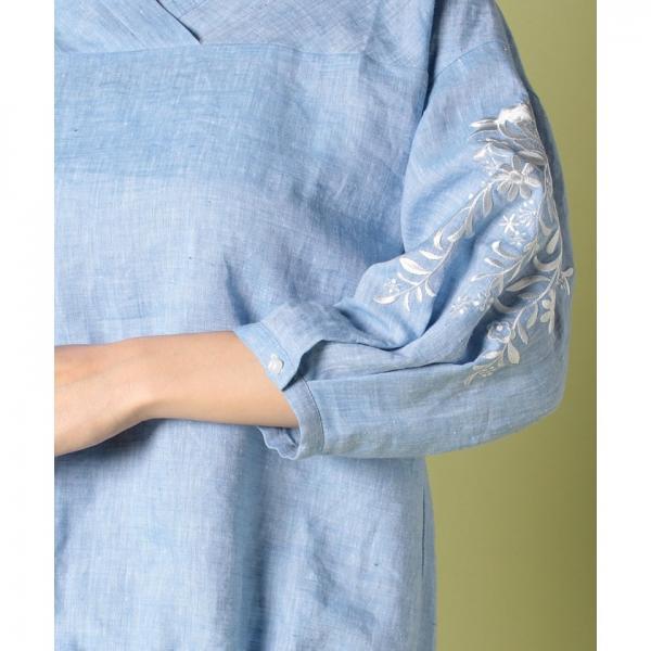 【eclat6月号掲載商品】ボタニカル刺繍麻ブラウス