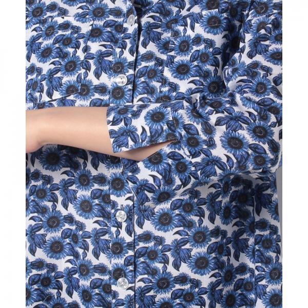 フラワープリント7分袖ブラウス