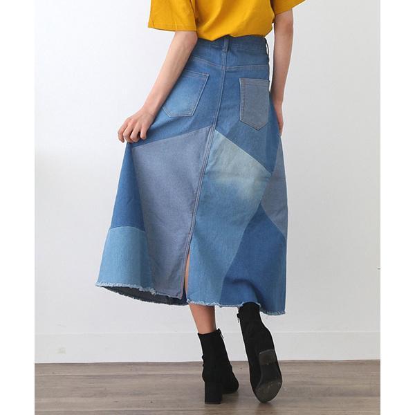 リメイク風配色パッチワークAラインデニムロングスカート【お取り寄せ商品】