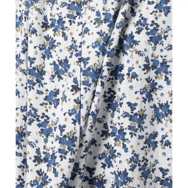 綿スラブ小花柄スキッパープルオーバー