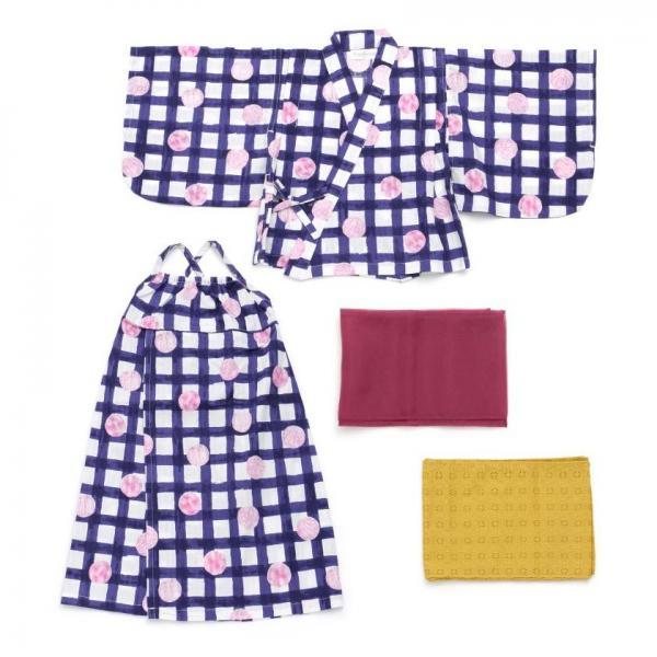 9440cc9a04522 LOHACO - チェックとドット柄Girl s浴衣 (着物・浴衣) MAGASEEK