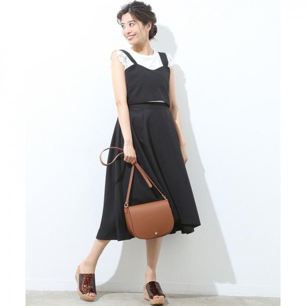 【ビスチェアップ】タックフレアミディ丈スカート