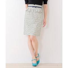 ペプラムベルト付きタイトスカート【お取り寄せ商品】