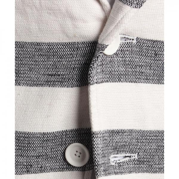 綿麻ストレッチボーダーテーラードジャケット