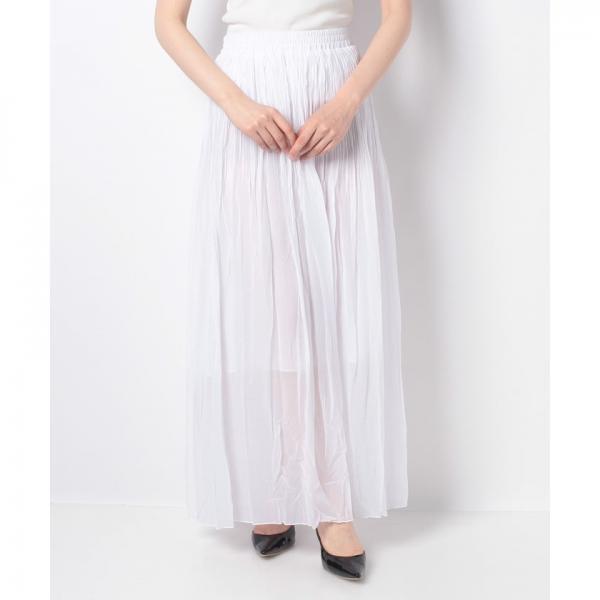ウエストゴムプリーツロングスカート