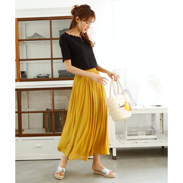 ★シフォン楊柳ロング/スカート