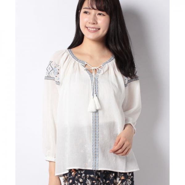 刺繍入りガーゼシャツ