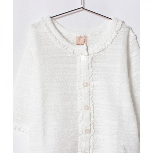 袖フリル透かし編みカーディガン