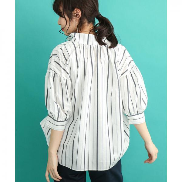 【C+/シー】洗える!BIGシルエットランダムストライプシャツ