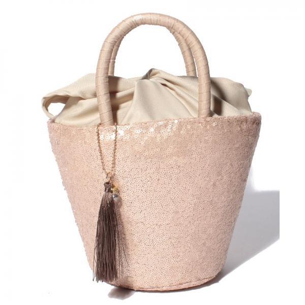 スパンコールバケツ型かごバッグ